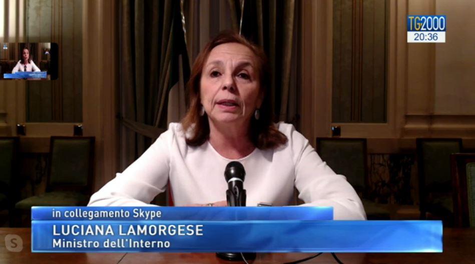 Ministro Interno Lamorgese a Tv2000